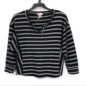 Poof Striped Baja Dolman Knit Top